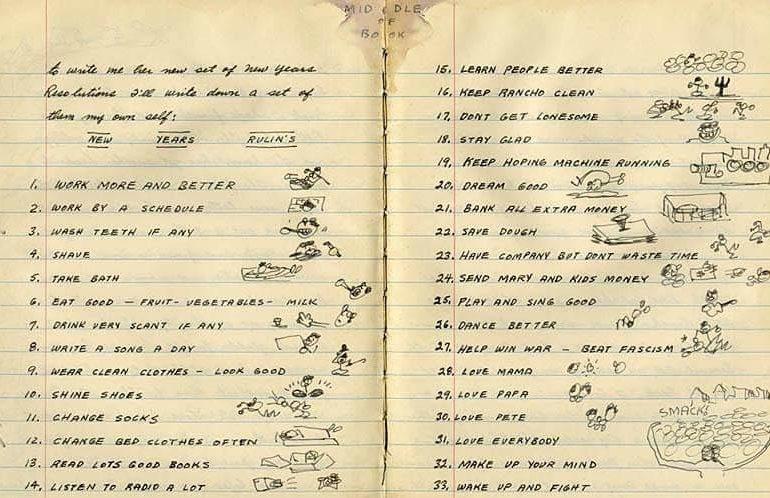 Lista de propositos de Año Nuevo de Woody Guthrie